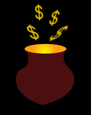 A cauldron with money