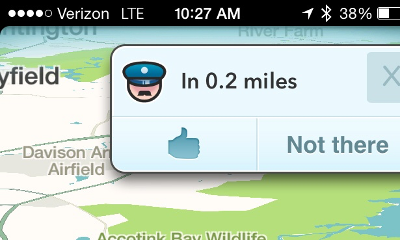 Police ahead! - Waze Mobile App Display